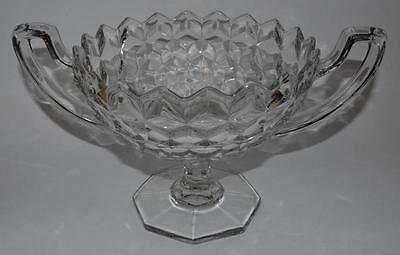 Fostoria American Glass ~ Footed Two Handled Trophy Compote ~ Bowl