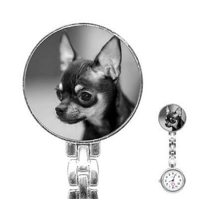 Chihuahua Puppy Dog Womans Stainless Steel Nurse Watch