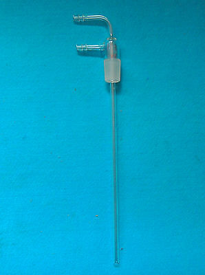 24/29,90 Bent,Lab Glass Long Stem Hose Inlet Adapter With Vacuum Hose Connection