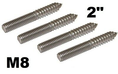 "4x Double Ended Dowel Screw Wood to Metal M8 2"" M&J Products 7473"