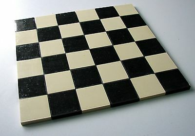 Victorian reproduction floor tiles on sheet - black & white 50mm squares (x36)