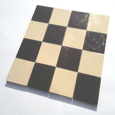 Victorian floor tiles on sheet - black & white 70mm squares (x16) Chequerboard
