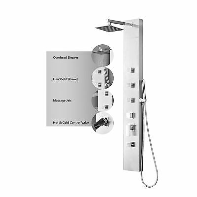 Stainless Steel Rainfall Shower Panel Massage System with Jets & Hand Shower