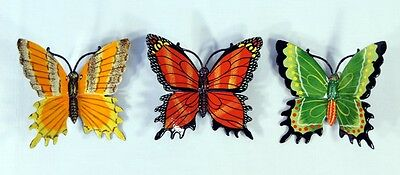 "Hand Painted 6"" Assorted Butterfly Wall Mount Decor Sculpture 24B-D (Set of 3)"