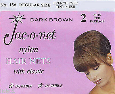 Jac-O-Net  #156  French Style  Invisible Hair Net  w/Elastic (2) pcs. Dark Brown
