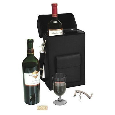 Royce Leather 'Connoisseur' Wine Carrying Carrier, Premium Bonded Leather, Black