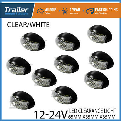 Led Clearance Lights Bulk Pack Of 10 White Side Marker Trailer Truck Ute Caravan