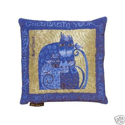 Laurel Burch Indigo Blue Gold Feline Cat Decorative Tapestry Throw Pillow NWT