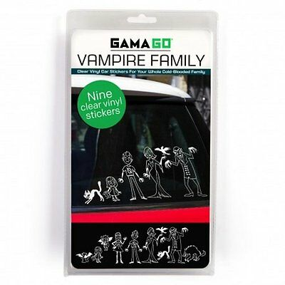 Gama-Go VAMPIRE FAMILY CAR STICKERS - 9 Clear Vinyl Decal Stickers BLOODY FAMILY