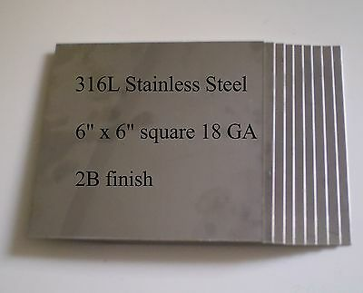 "10 pc 6""x6"" 18ga 316L Stainless Steel Plates for HHO Parts"