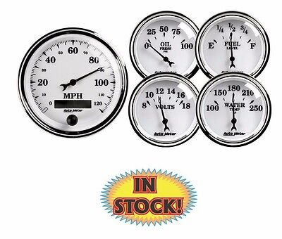 """Auto Meter Old Tyme White Kit 3-3/8"""" and 2-1/16"""" 5 Gauge Set Electric 1200"""