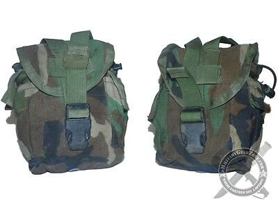 2 MOLLE II Canteen Carrier Utility Pouch Woodland Camo BDU Genuine US Issue