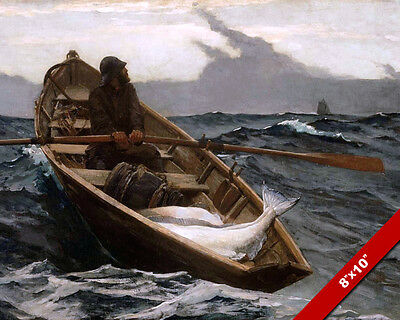 Ocean Man Row Boat Sea Fishing Fine Art Painting Real Canvas Giclee 8X10 Print