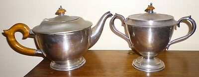 Hecworth-Antique Silver Plate Tea Pot With Wooden Handle Plus Sugar Bowl