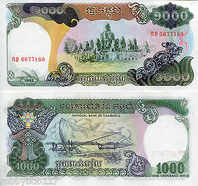 CAMBODIA 1000 Riels Banknote World Money UNC Currency BILL Asia p39 1992 Note