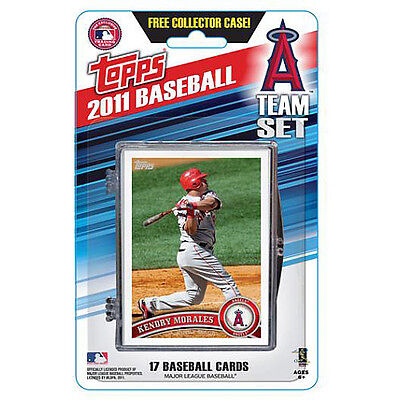 Topps 2011 LA Angels Team Baseball Card Set of 17 Cards in Collectors Case