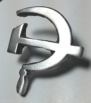 Russian Emblem Hammer and Sickle Hand Made in the UK Pewter Lapel Pin Badge