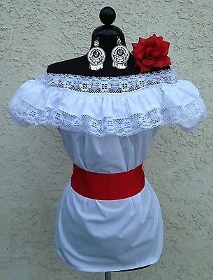 Mexican Blouse White Adelita On/Off Shoulder w/Small Red Sash. Blusa Adelita