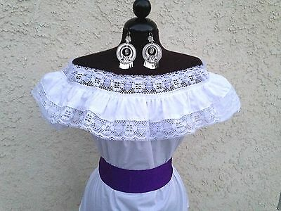 Mexican Blouse White Adelita On/Off Shoulder w/Small Purple Sash. Blusa Adelita