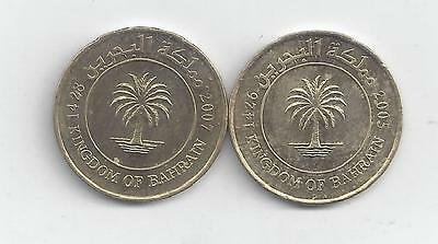 2 DIFFERENT 10 FILS COINS from BAHRAIN DATING 2005 & 2007.