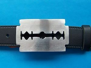 Razor Blade Pewter Belt Buckle Hand Made From Pewter in the UK