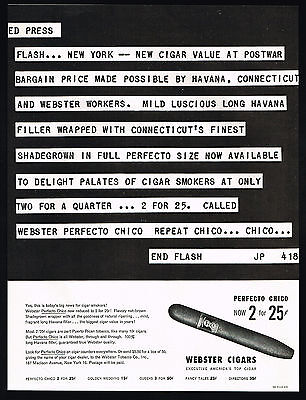 1949 Webster Perfecto Chico Cigar News Flash Print Ad