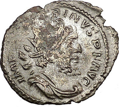 Victorinus  269AD Very rare Silvered Ancient Roman Coin Pax Peace  Cult i39014