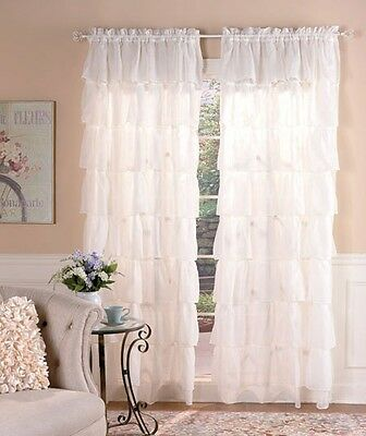 "Gypsy Ruffled Curtain 60""W x 63""L  Ecru Richly textured layers 1 Panel Window"