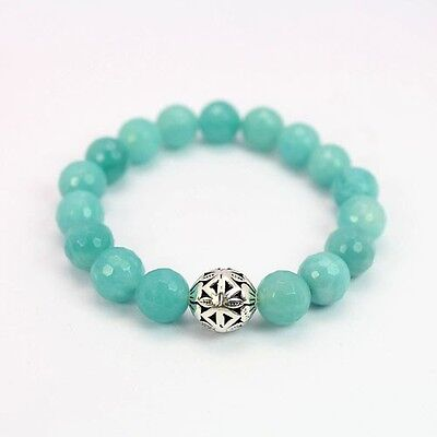 7inches Natural Amazonite Oxidized 925 Silver Bead Stretch Bracelet B111