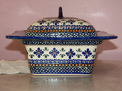 Genuine Hand Made Polish Pottery Square Covered Baker! Astoria Pattern!