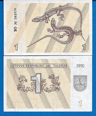 Lithuania P-32a 1 Talonas Without Text Year 1991 Uncirculated Banknote