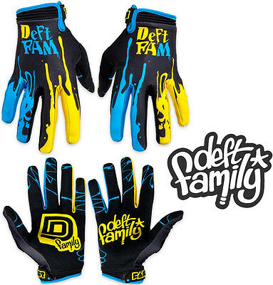 Deft Family Motocross MX Gloves Catalyst 2 Dipped Blue Yellow All Sizes bmx mtb