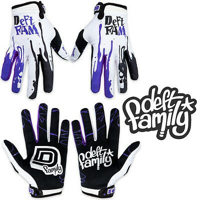Deft Family Motocross MX Gloves Catalyst 2 Dipped White Purple All Sizes bmx mtb