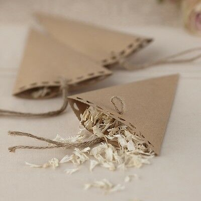 10 Vintage Brown Kraft Confetti Cones - With or without dried petal confetti