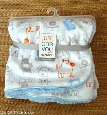 NEW Carters Puppy Dog White Blue Gray  Baby Boy Security Blanket Just One Year