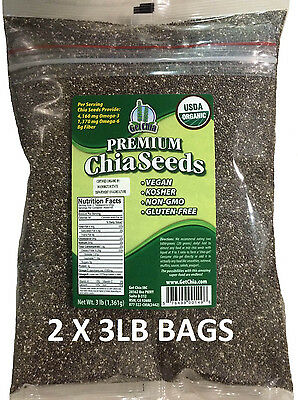 6 POUNDS CERTIFIED ORGANIC Black Chia Seed Get Raw Seeds Gluten-Free Non-Gmo