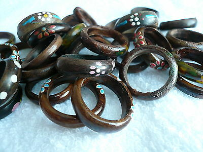 2 x Wood Wooden Painted Ring Rings ~ Surfer BoHo Hippy