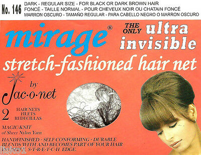 Jac-O-Net  #146 Mirage Hair Net - for black or dk brown hair   (2) pcs  Dark