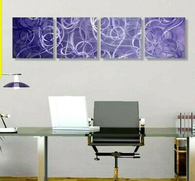 PURPLE SILVER SWIRL Modern Metal Wall Art Panels Abstract Decor SIGNED Jon Allen