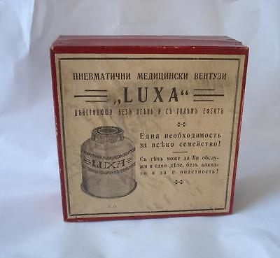 1920s ANTIQUE MEDICAL SUCTION CUPPING GLASSES BOX LUXA