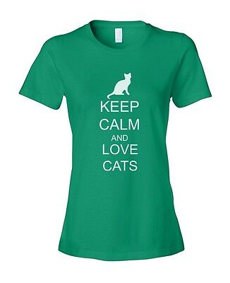 Keep Calm and Love Cats Women's Ladies' Fashion Fit T-Shirt Shirt Top