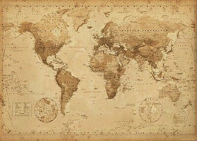 New MAP Of The World (LAMINATED) Old Antique Vintage Style POSTER 61x91cm Print