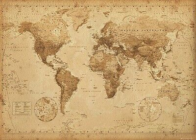 New Map Of The World (Laminated) Old   Style Poster 61X91Cm Print