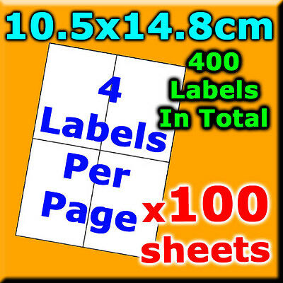 100 Sheets 10.5x14.8cm 4 Labels Per Page Quality A4 Shipping Label Laser Inkjet