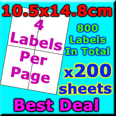 200 Sheets 10.5x14.8cm 4 Labels Per Page Quality A4 Shipping Label Laser Inkjet