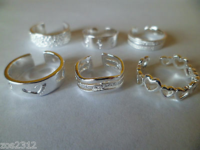Toe Rings Silver Adjustable Choice Of 6 Designs Free P&P New