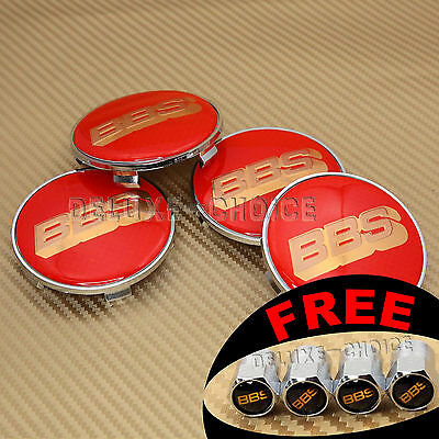 Red Gold 3D Logo Car Wheel Rim Center Centre Cap Hub Emblem Badge 60Mm For Bbs
