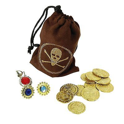 Pirate Purse Pouch Set Gold Pirate Coins Steampunk Bag Fancy Dress Accessory New