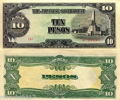 PHILIPPINES 10 Pesos Banknote World Money aUN Currency BILL p111 Note Japan Occ.
