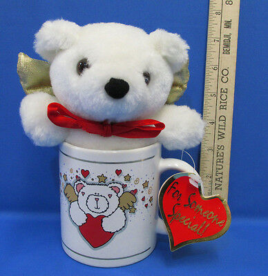 Valentine Or Someone Special Gift Set Of White Teddy Bear In Heart Coffee Mug
